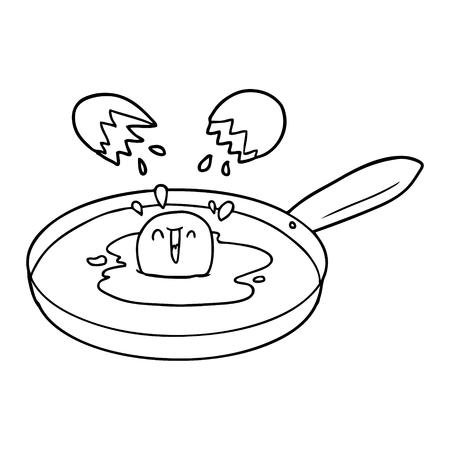 cartoon egg frying Illustration
