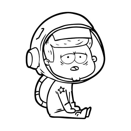 cartoon tired astronaut Illustration