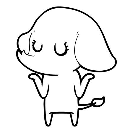 cute elephant shrugging shoulders Illusztráció