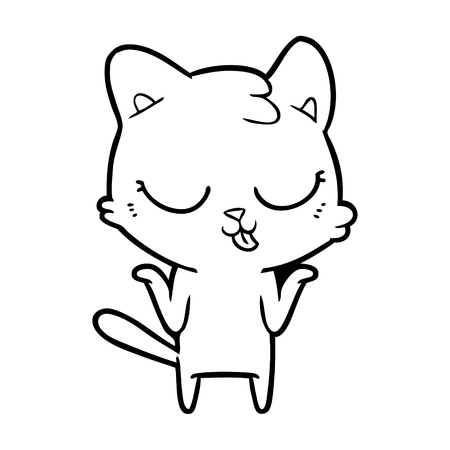 cartoon cat shrugging shoulders Archivio Fotografico - 95311320