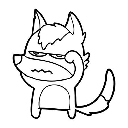 cartoon annoyed wolf Illustration