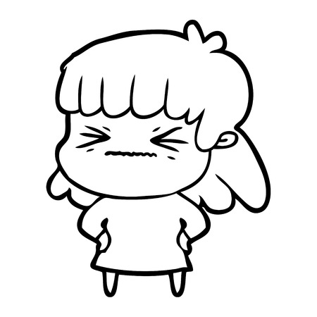cartoon angry girl