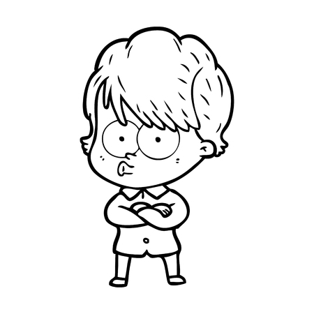 Cartoon woman waiting illustration on white background.