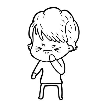 Cartoon frustrated woman illustration on white background. Illustration