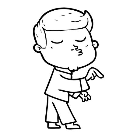 Cartoon model guy pouting illustration on white background. Ilustracja