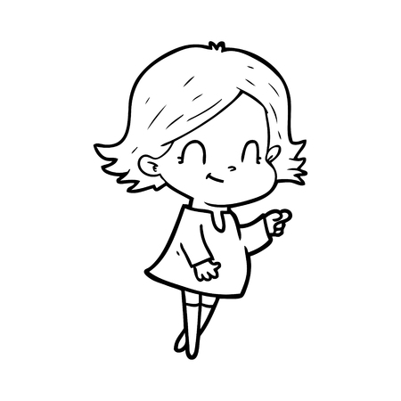 Cartoon friendly girl illustration on white background.