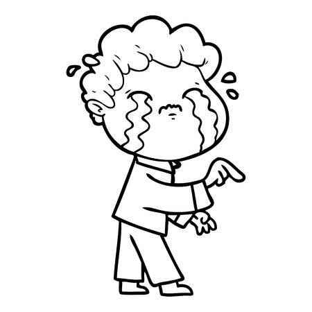 Cartoon man crying illustration on white background. Stock Illustratie
