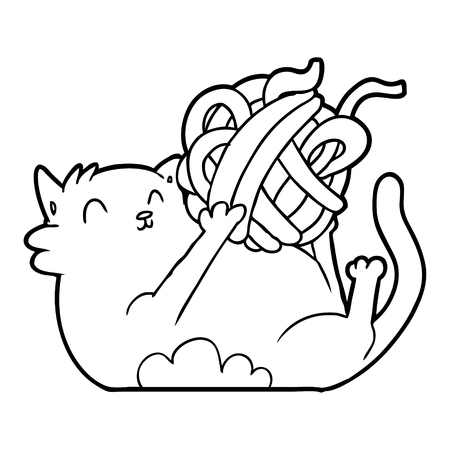 cartoon cat playing with ball of string Illustration