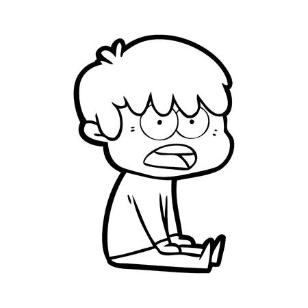 Hand drawn worried cartoon boy