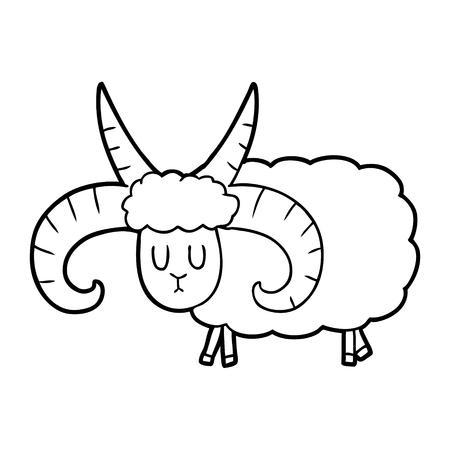 Cartoon long horned ram illustration on white background.