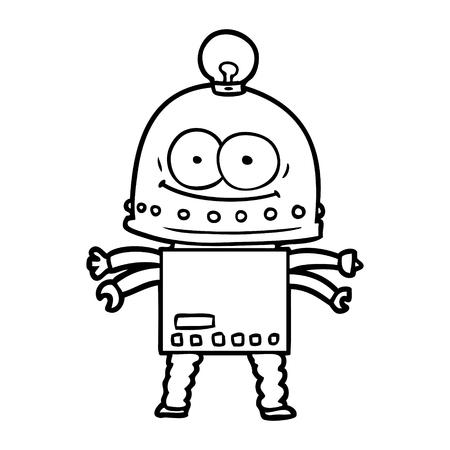 Hand drawn happy carton robot with light bulb
