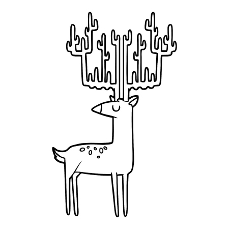 cartoon stag with huge antlers