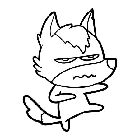 cartoon annoyed wolf Иллюстрация