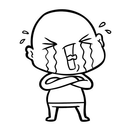 cartoon crying bald man 일러스트