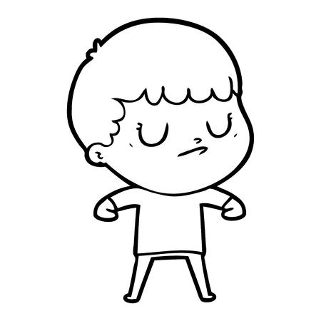 Cartoon grumpy boy Vectores