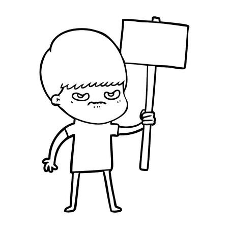 angry cartoon boy protesting Illustration