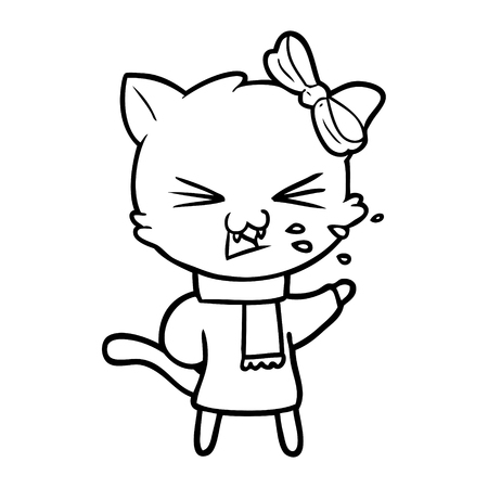 Cartoon sneezing cat Ilustracja