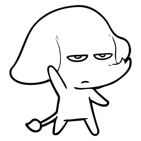 annoyed cartoon elephant Stock Illustratie