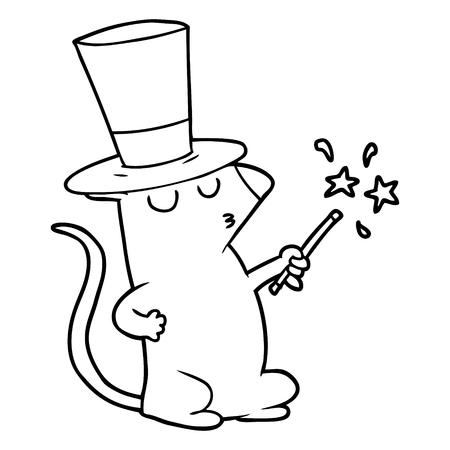 cartoon mouse magician Illustration