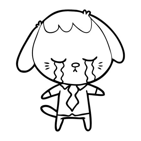 cartoon dog crying Vector illustration.