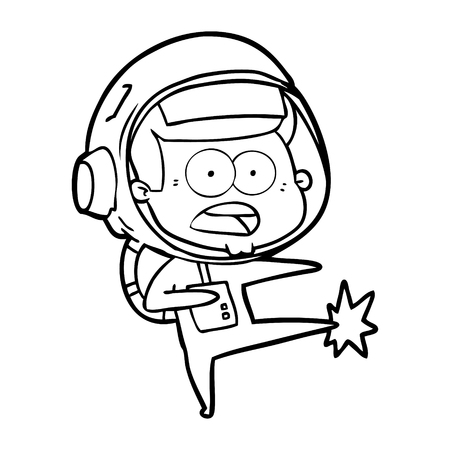 cartoon surprised astronaut kicking