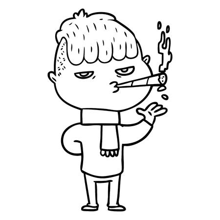 cartoon man smoking Banque d'images - 95534974