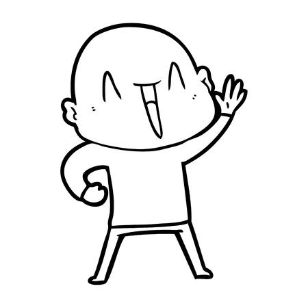 happy cartoon bald man
