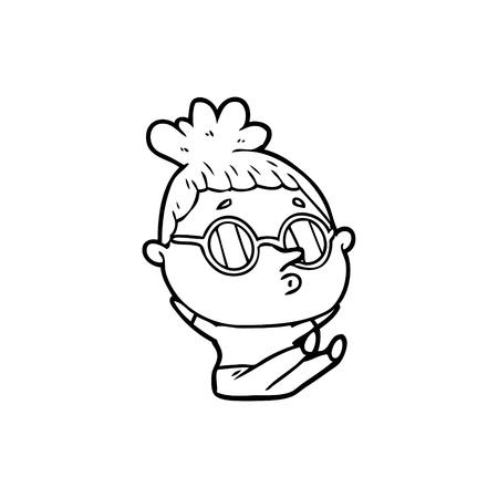 cartoon woman wearing sunglasses