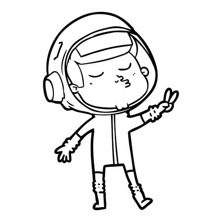 漫画自信宇宙飛行士ベクトルイラスト。  イラスト・ベクター素材