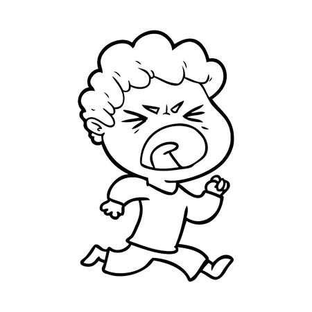 cartoon furious man 向量圖像