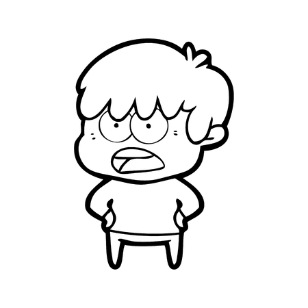 worried cartoon boy
