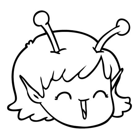漫画エイリアン宇宙の女の子の顔