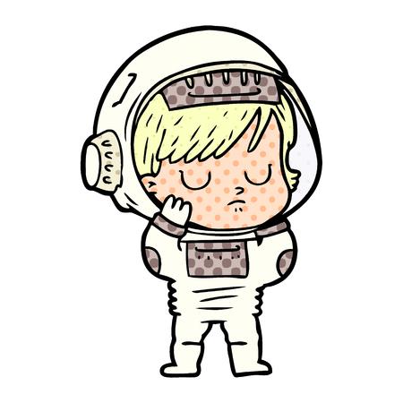 Cartoon astronaut woman Ilustrace