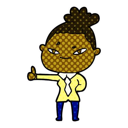 Cartoon woman thumb up illustration on white background.