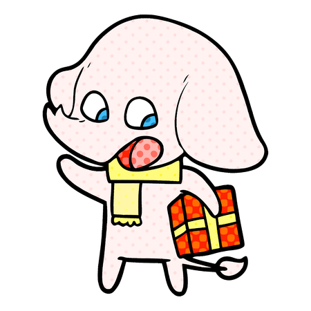 Cute cartoon elephant with Christmas present illustration on white background.