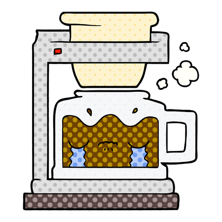 Cartoon crying filter coffee machine illustration on white background.