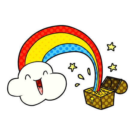 cartoon rainbow and pot of gold