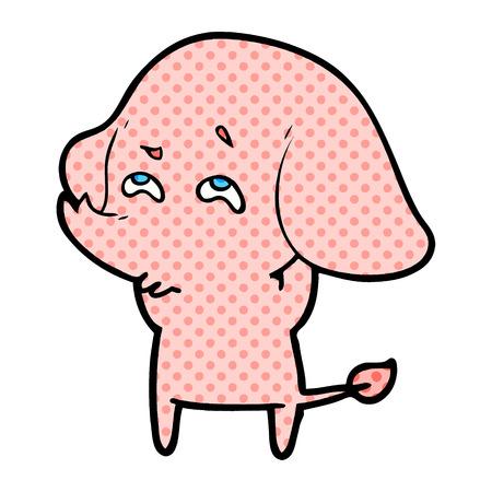 Cartoon elephant remembering illustration on white background.