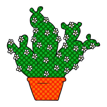 cartoon potted cactus Banque d'images - 95378329