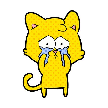 Cartoon crying cat illustration on white background.