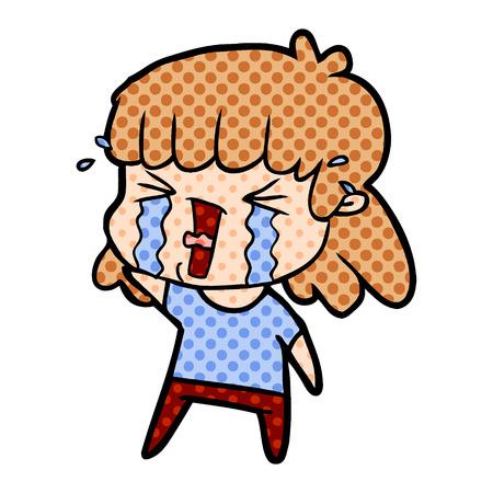 cartoon woman in tears Ilustracja