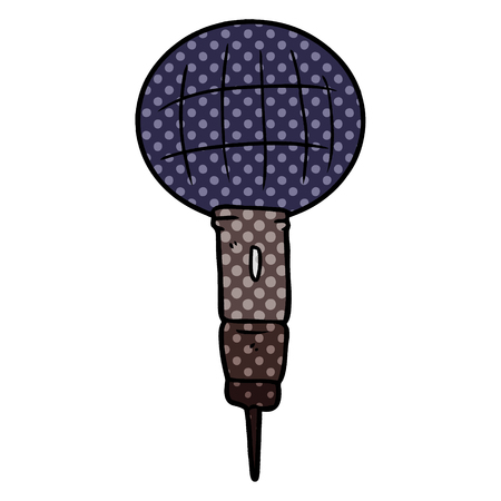 Cartoon microphone illustration on white background.