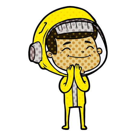 A happy cartoon astronaut isolated on background Illustration