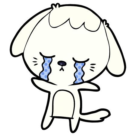 Cartoon crying dog illustration on white background.