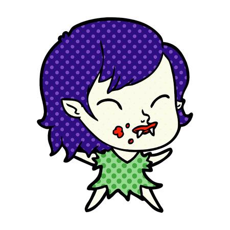 白い背景に隔離された頬に血を持つ漫画吸血鬼の女の子