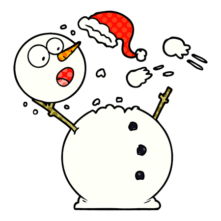 snowman in snowball fight Vector illustration.