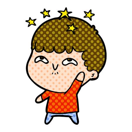 Illustration of  cartoon amazed boy.