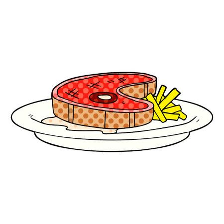 cartoon steak dinner Vector illustration.