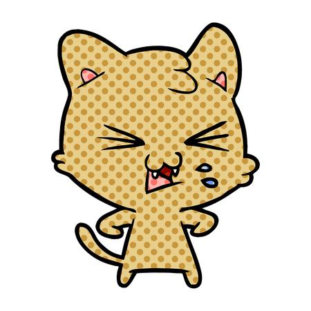 cartoon cat hissing