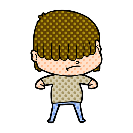 cartoon boy with untidy hair Vector illustration. Ilustracja